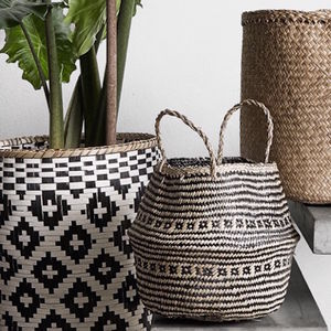 Danish Black To Buff Seagrass Basket - storage