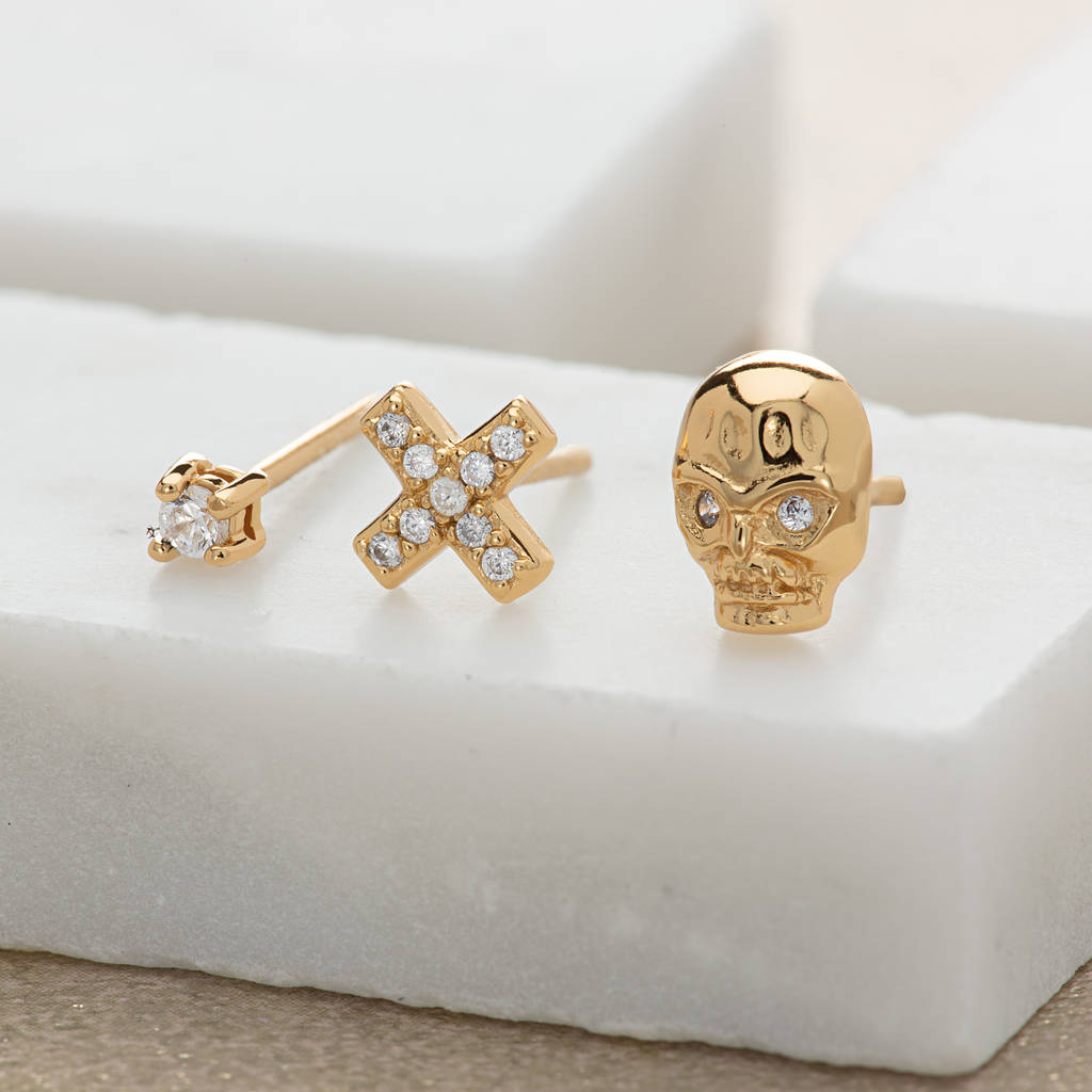 Skull And Cross Set Of Three Single Earrings