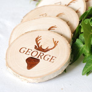 Personalised Christmas Stag Name Place Setting