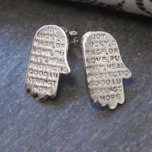 Engraved Inspirational Hamsa Hand Studded Earrings - modern-boho