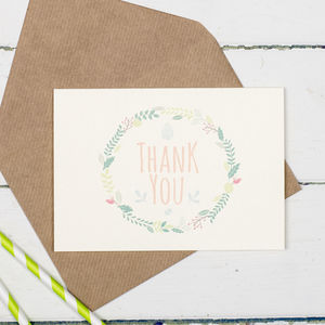 Botanical Thank You Card Pack Of 10