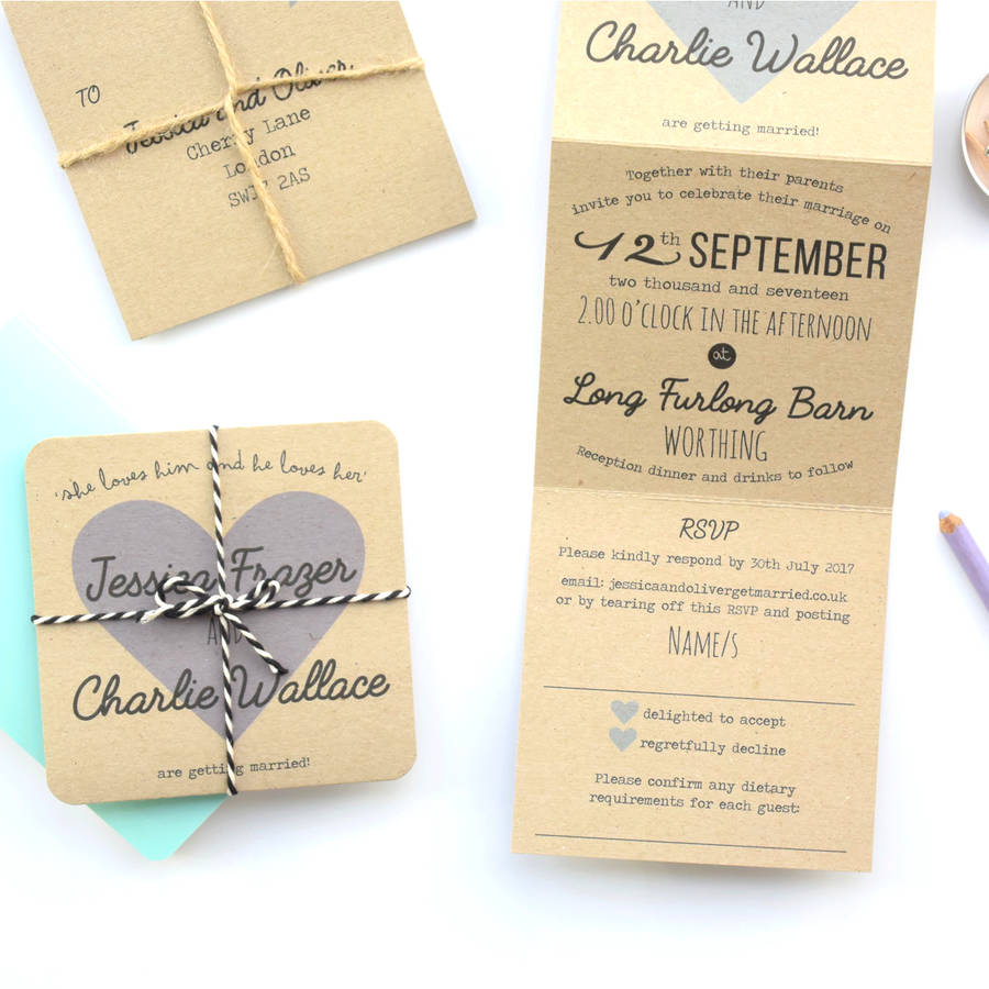 Recycled Wedding Invitations: Recycled Heart Tri Folded Wedding Invitation By Paper And
