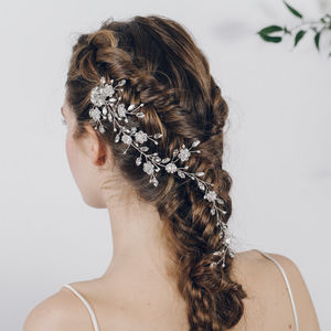 Crystal And Pearl Wedding Plait Hairvine Scarlett - bridal hairpieces