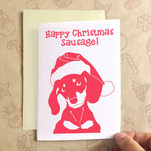 Personalised Christmas Dachshund Christmas Card - cards