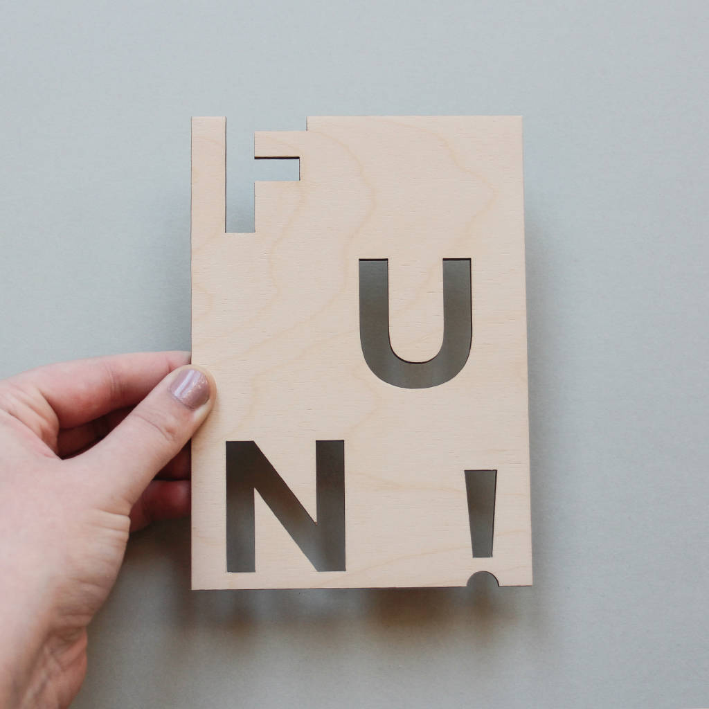 Fun! Wooden Postcard