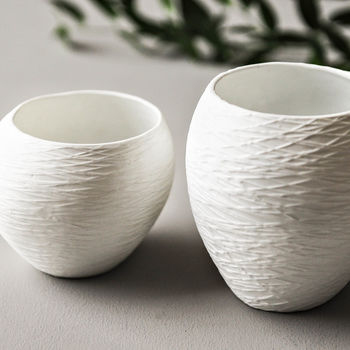 Two White Textured Porcelain Pots