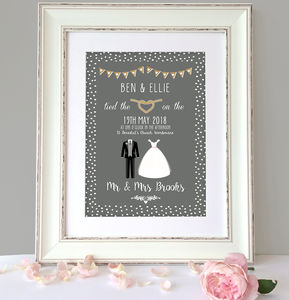 Personalised Classic Wedding Print - personalised wedding gifts
