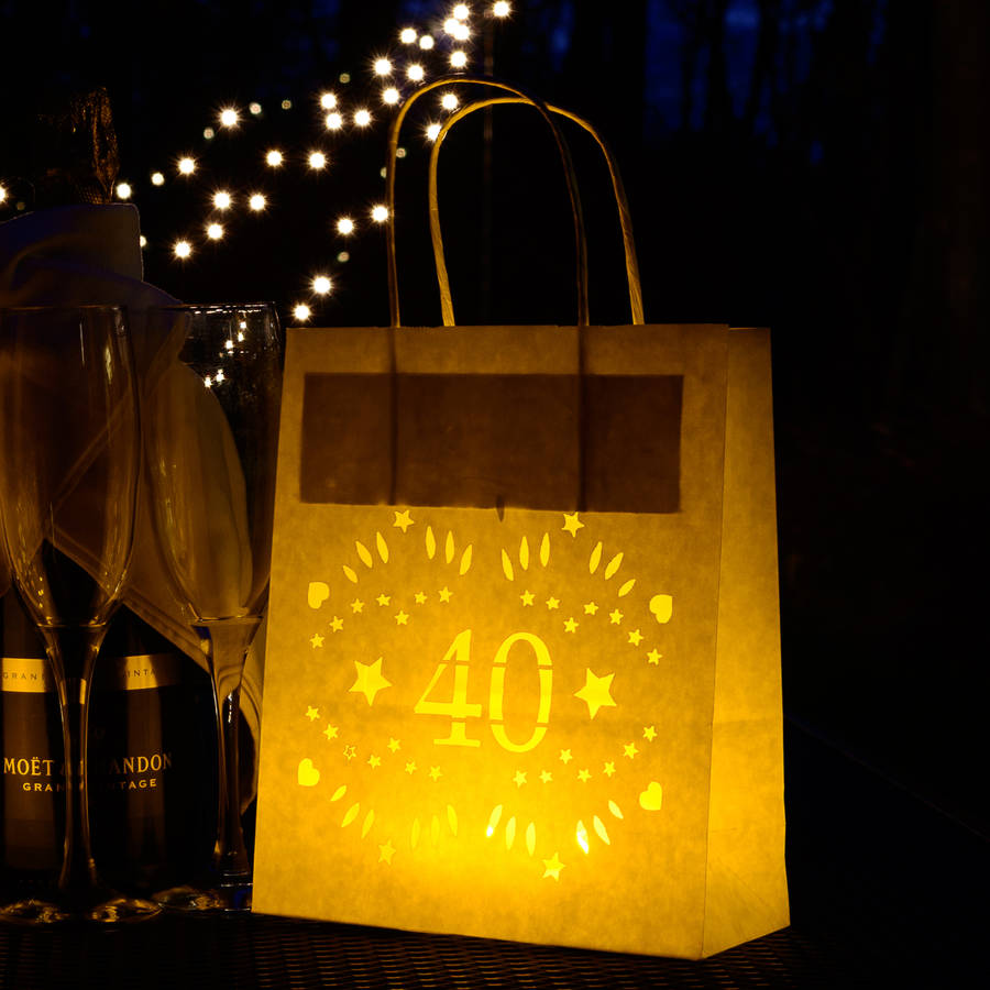 40th birthday, party decoration lantern bag by baloolah bunting