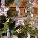 Embroidered Silver Star Tree Topper