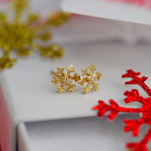 9ct Gold Snowflake Earrings - earrings