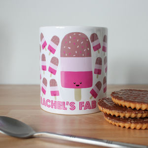 Personalised Fab Lolly Ice Cream Mug Custom Any Name