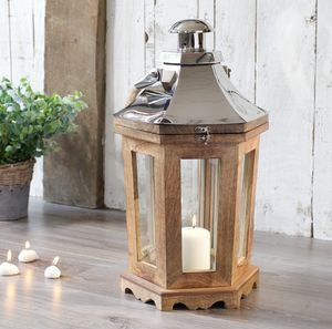 Large Reclaimed Wood Candle Lantern - lighting