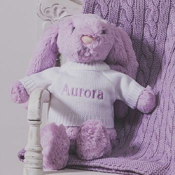 Personalised Lilac Bashful Bunny Soft Toy