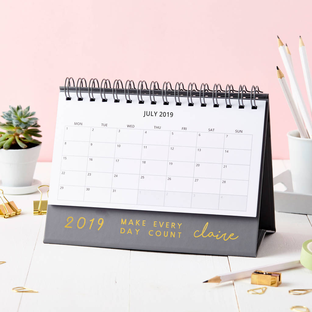 personalised 'make it count' 2019 desk calendar by martha ...