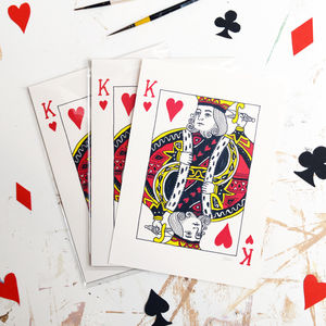 'King Of Hearts' Playing Card Illustration Print