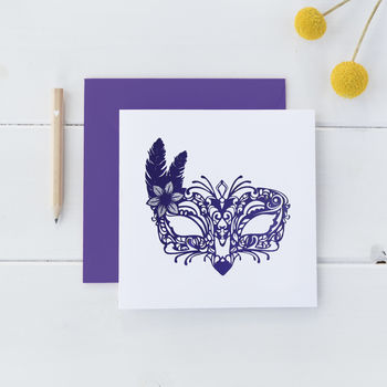 Square Venetian Mask Card