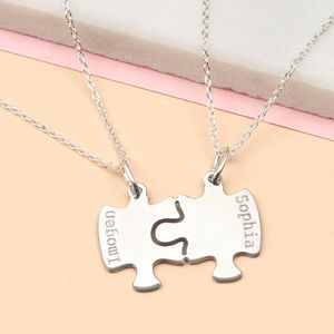 Personalised Jigsaw Piece Set Of Two Necklaces