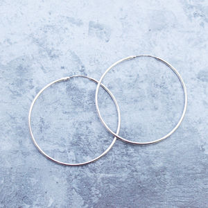 Delicate Sterling Silver Medium Hoops - earrings