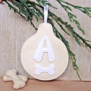 Handmade Felt Personalised Dog Bauble Decoration