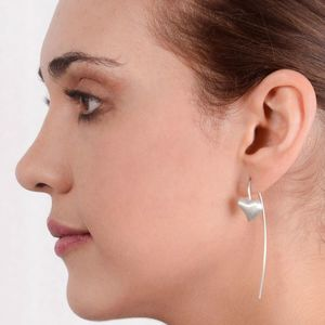 Matt Sterling Silver Long Heart Earrings
