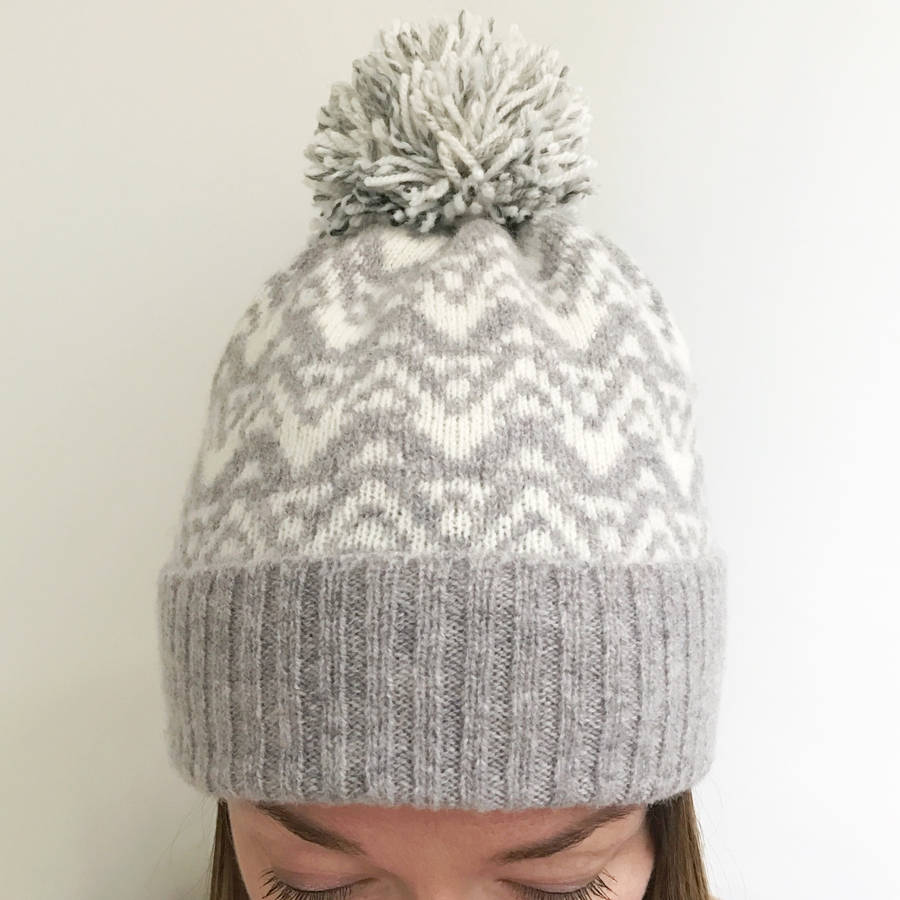 ladies lambswool knitted bobble hat waves pattern by little knitted ...