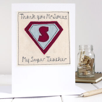 personalised superhero thank you teacher card