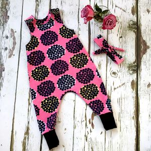 Hot Pink Rubus Flower Romper, Baby Dungarees - clothing