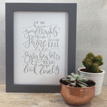 'Good Thoughts' Modern Calligraphy Letter Pressed Art
