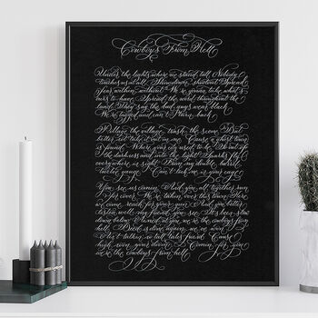 Favourite Song Lyrics Or Poem In Calligraphy Unframed