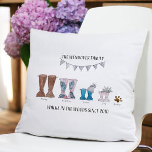 Personalised Welly Boot Family Cushion - bedroom