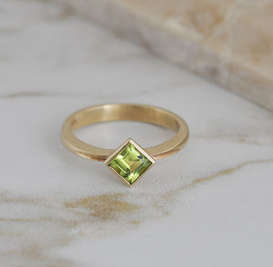 Peridot Gold Ring - unique engagement rings