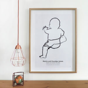 'The Hip' Personalised To Scale New Baby Print - children's pictures & paintings