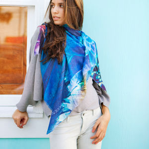 Womens Printed Cashmere Silk Scarf, Peacock - birthday gifts