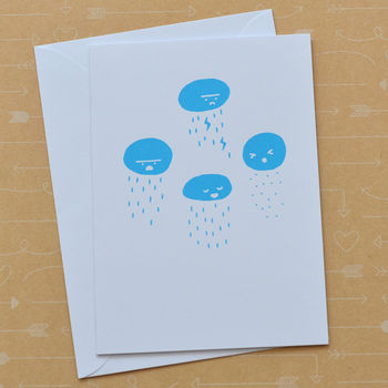 Rainclouds Hand Screen Printed Card