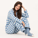 Women's Brushed Cotton Pyjamas In A Blue Check