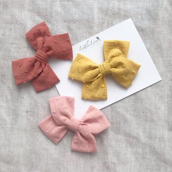 Little Love Cotton Hair Bow/ Spice Dot