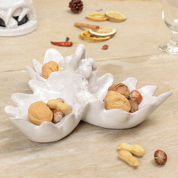 Grey Ceramic Oak Leaf Triple Serving Dish