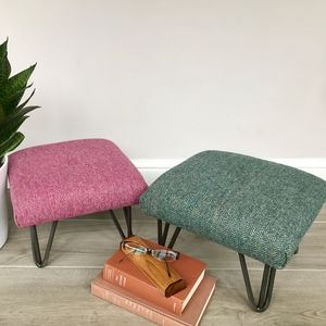 Retro Style British Wool Footstool On Hairpin Legs - footstools & pouffes