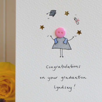 Personalised 'Button Graduation' Hand Illustrated Card