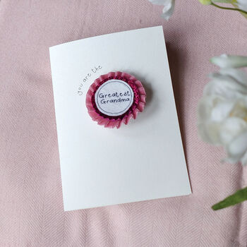 Mother's Day Glitter Velvet Rosette Brooch Card