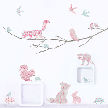 Woodland Animals On Branch Wall Sticker~ Vintage Floral