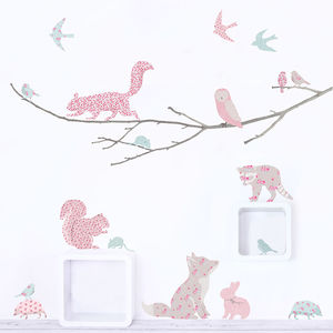 Woodland Animals On Branch Wall Sticker~ Vintage Floral - baby's room