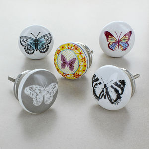 Butterfly Ceramic Door Knobs Cupboard Drawer Handles