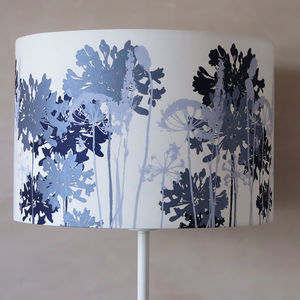 White Floral Printed Lampshade Navy And Pale Blue - lighting