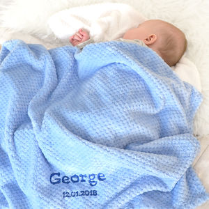 Personalised Blue Waffle Baby Blanket - blankets, comforters & throws