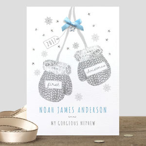 Personalised 'Baby's First Christmas' Mittens Card
