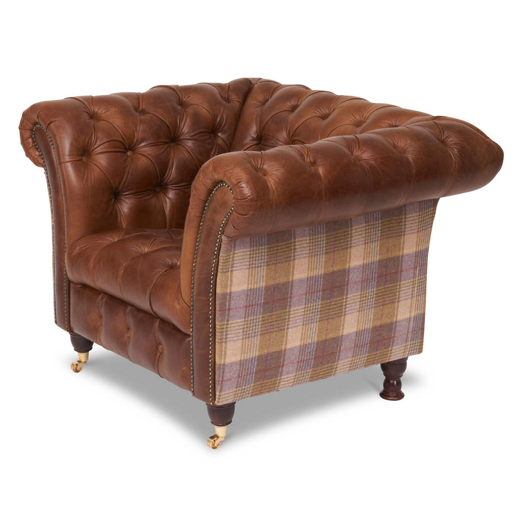 harris tweed or vintage leather chesterfield sofa by the orchard rh notonthehighstreet com
