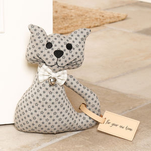 Felix The Spotty Cat With Bowtie Fabric Doorstop - door stops
