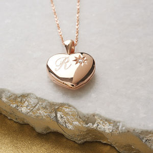 Personalised Genuine Diamond Rose Gold Locket - women's jewellery
