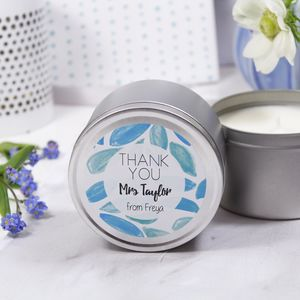 Personalised Thank You Teacher Scented Tin Candle - thank you gifts